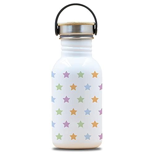 Laken Botella de Acero Inoxidable con Tapón de Rosca Acero y Bamboo y Boca Ancha 500ml, Drinklife Stars
