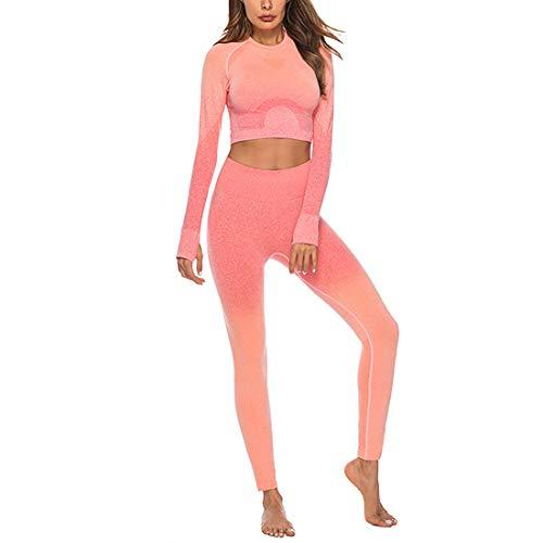 Aiweijia Conjunto De Yoga De Gradiente Sin Costuras para Mujer, Traje De Yoga Ajustado, Conjuntos De Ropa Deportiva, Chándales, Gimnasio, Entrenamiento, Ropa Deportiva para Mujer, Conjuntos De 2 Uds