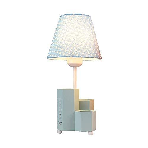 HNBMC Lámpara de Mesa de protección de la Tabla para niños con el Titular de la Pluma - Escritorio de cabecera Elegante con Pantalla de Tela para lámpara de Mesa de habitación Lámpara-30545V8R0T