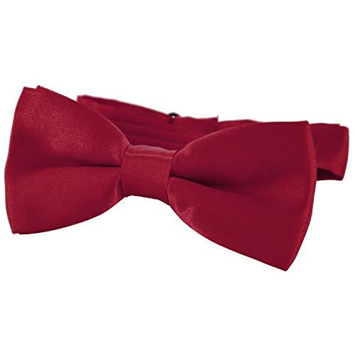 DonDon pajarita noble para niños - combinada y ajustable 9x 4,5 cm - de color rojo oscuro - brillada con aire de seda