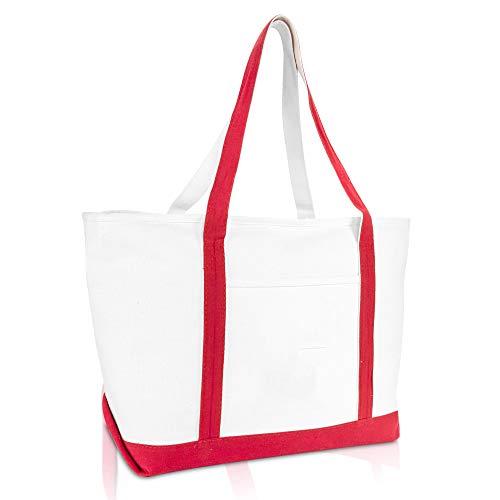 DALIX 23' Premium 24 oz. Cotton Canvas Shopping Tote Bag in Red