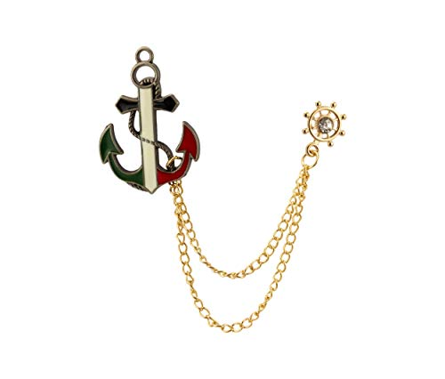 Knighthood Red White and Green Anchor with Gold Wheel Chain and Stone Detailing Lapel Pin Badge Coat Suit Wedding Gift Party Shirt Collar Accessories Brooch for Men