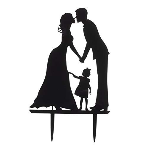 ROSENICE Topper per torta nuziale con bacio di sposa e sposo mano in mano con una ragazza in acrilico, colore nero
