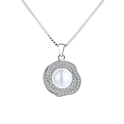 ZhenS Collar Bohemio de Plata 925 con Flor de la Vida, Collares con dijes de Perlas de Agua Dulce para Mujer, Regalos de joyería, Plata, 40 + 5cm