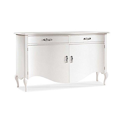 Buffet, Style Classique, en Bois Massif et MDF avec Finition laqué Blanc Brillant - Dim. 170x55x18