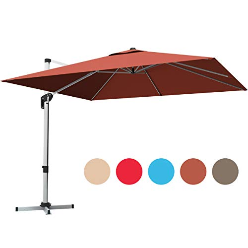 Tangkula 10 Ft Patio Offset Cantilever Umbrella, Outdoor 360 Degree Rotation Hanging Umbrella with Cross Base Crank Lift and Step Pedal, Polyester Canopy Garden Umbrella with Aluminum Pole (Orange)