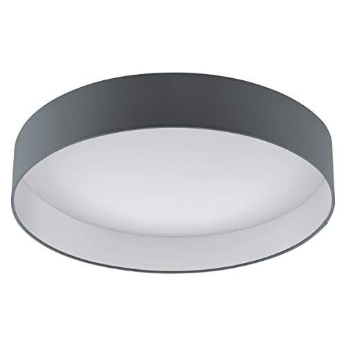 EGLO LED Deckenlampe Palomaro, Deckenleuchte Stoff, Wohnzimmerlampe aus Textil, Kunststoff, Farbe: anthrazit, weiß, Ø: 50 cm