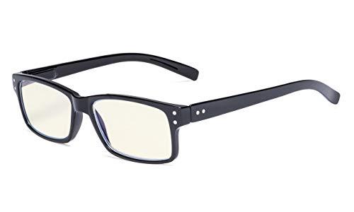 Eyekepper UV-Schutz,Blendschutz/Blitz,Kratzfestes Objektiv Computer Brillen (Schwarz,Gelb getönte Linsen)