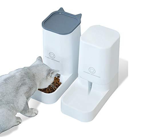 Old Tjikko Automatischer Futterspender für Haustiere, Hunde-Wasserspender, automatischer Futterspender für Hunde/Katzen, mit Wasserspender, 2 Stück, Wassernapf, 3,8 l
