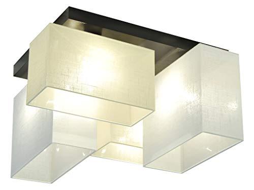 Deckenlampe - HausLeuchten JLS44ECWED - 4 Varianten, Deckenleuchte, Leuchte, Lampe, 4-flammig, Massivholz (ECRU/WEIß)