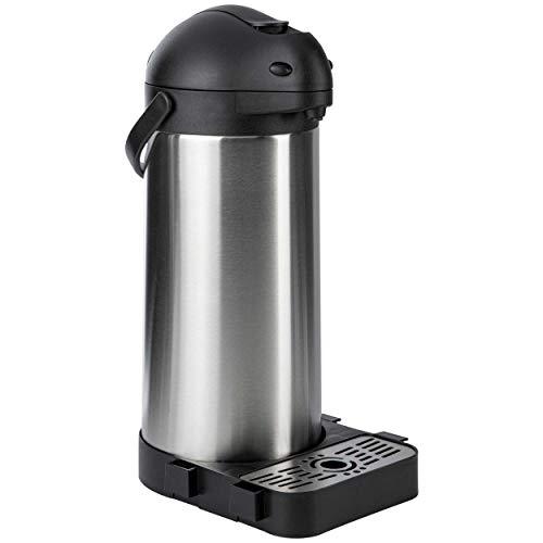 ONVAYA® Airpot Pumpkanne | Isolierkanne | Thermoskanne | Getränkespender | Edelstahl mattiert | Kaffeekanne | Doppelwandig (5 Liter + Tropfschale)