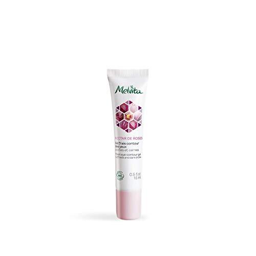 Melvita - Gel Frais Contour des Yeux Certifié Bio Nectar de Roses - Anti Cernes, Poches, Gonflements - Regard Frais et Reposé - Formule Vegan, Naturelle à 99% et sans Parfum - Tube 15ml