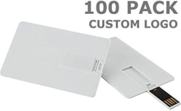 Enfain 2GB Credit Card USB Flash Drive Customized Logo White Card- 100 Pack