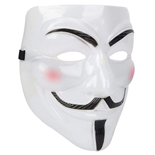 Miuion Guy Fawkes Mask -V for Vendetta, Anonymous Hacker Cosplay Party Mask (White)