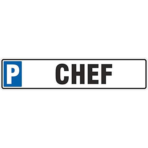 Schild Chefparkplatz 50 x 11 cm Autoschild Alu-Verbund stabil Parkplatz Chef