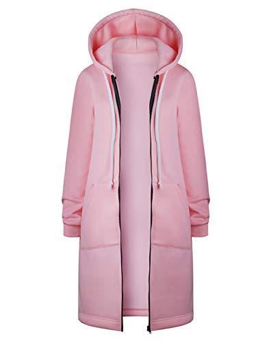 Hifanmall Damen Strickjacke Casual Mantel Hoodie Zipper Hoodies Sweatjacke Langer Manteljacke Oversized Coat Outwear Kapuzenpullover, Rosa, 44