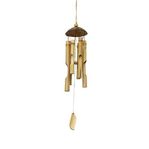 Carillones de Viento de bambú y carillón de Viento de Comercio Justo de Coco para Exteriores de Gifts de 46 cm de Largo