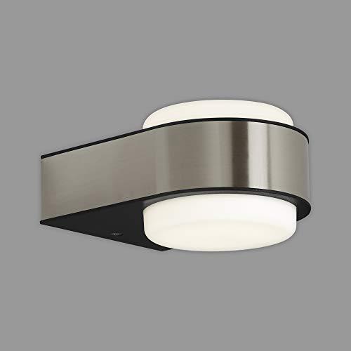Briloner Leuchten - LED Außenleuchte, Außenlampe, Außenwandlampe, IP44, 6,5 Watt, 650 Lumen, 4.000 Kelvin, Edelstahl, 144x104x69mm (LxBxH), 3035-012