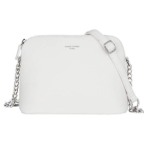 David Jones Piccola Borsa a Tracolla Spalla Donna Catena Borsa Mano PU Pelle Messenger Crossbody Bag Clutch Borsetta Sera Pochette Elegante Shopping Viaggio Sacchetto Borsello 22x17x10 cm Bianco