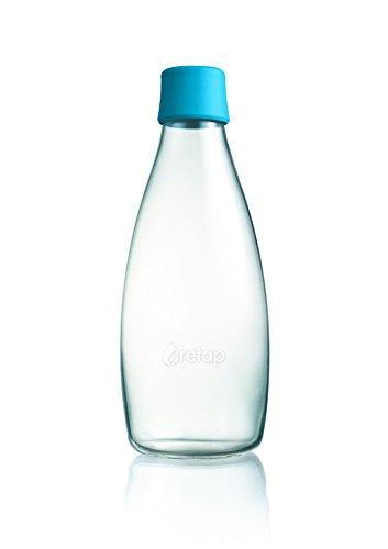 Retap ApS Wiederverwendbare Wasserflasche mit Verschluss - 0,8 Liter, Deckelfarbe:Petrol