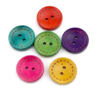 50 Stück kleine Premium Holzknöpfe rund, bunt, in den Größen 10mm, 15mm, 20mm wählbar - Zweilochknöpfe zum basteln zum annähen nähen Kinderknöpfe Kinderkleidung farbige Bastelknöpfe (15mm, bunt)