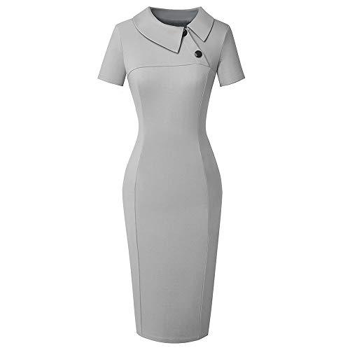 QUNLIANYI Jurken voor Vrouwen Plus Size Formele Business Turn Down Collar Werkkleding Potlood Jurk Vrouwen Korte Office Lady Jurk