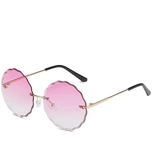 SXRAI Gafas de Sol Redondas Mujer Hombre Moda Gafas sin Montura Gafas de Sol Rosadas Mujer Uv400,C3