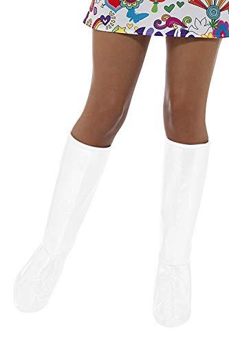Smiffys, GoGo laarzen voor dames, één maat GoGo laarzen OS wit