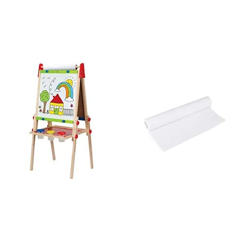 Hape Award Winning AllinOne Wooden Kid#039s Art Easel with Paper Roll and Accessories amp Hape Art Paper Roll Replacement for Kid#039s Art Easel Paper 15quotX 787quot