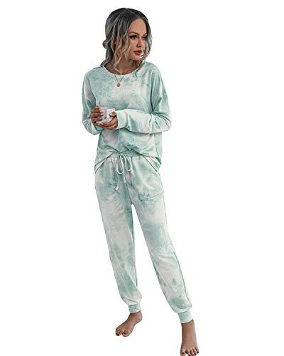 MINTLIMIT Schlafanzüge und Pyjamas für Ladies Nachtwäsche Negligee Set Rundhals Grün S