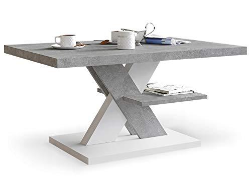 Viosimc Cliff Mesa de Centro Moderna, Color Hormigón - Blanco, Mesa de Café con Estante de Almacenamiento, para Salón Mesa Baja Salon, Fácil de Montar