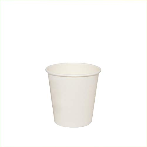 Palucart 100 vasos de papel para café, 90 ml, color blanco, biodegradables,...