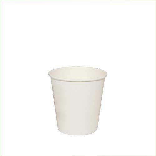 Palucart 100 vasos de papel para café, 90 ml, color blanco, biodegradables,...