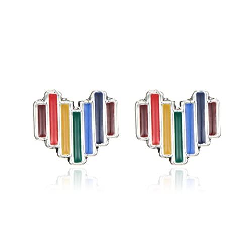 LKXSWZQ 5 unids Pendientes de Colorido Colorido en Forma de corazón Pendientes de nicho de Color Dulce Color melocotón Pendientes (Size : A)