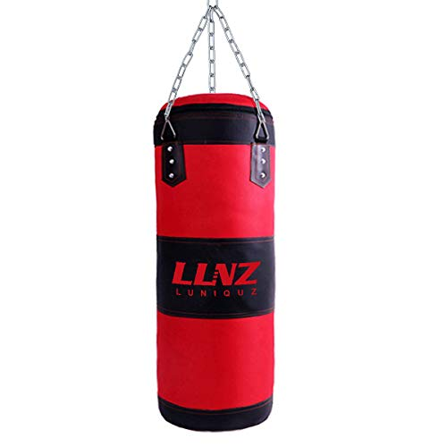 "Luniquz Punching Bag for Kids Adults, Unfilled Hanging Boxing Bag with Mount Set for MMA Muay Thai Sparring, 23"" in Red"