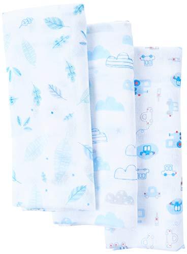 Toalha de Fralda Super Luxo Mami Estampada 1, 20M X 70cm 03 Un, Papi Textil, Azul