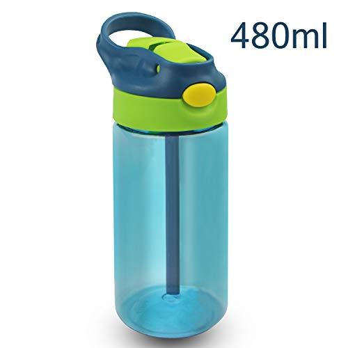 Bioasis Botella de Agua para niños de 480 ml, botella para niños a partir de 36 meses, sin BPA, Tazas para niños aisladas de derrames con Pajita para Viajes Escolares