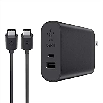 Belkin USB-C 2 Port 27 Watt Wall Charger with 6 Foot USB-C to USB-A Cable