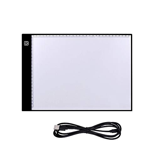 Onlylife A4 LED Gradient dimming Mode Tracing Light Box DIY Diamond Painting Artcraft Tracing Light Pad for Drawing Animation Sketching Tattoo X-ray Viewing with USB Powered