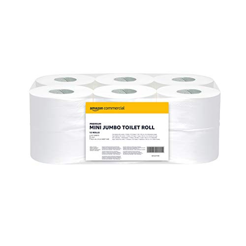 AmazonCommercial Toilettenpapier, 2 lagig -Mini Jumbo Rolle, 12 Rollen(557 Blatt pro rolle)