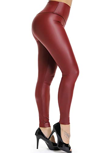 FITTOO PU Leggings Cuero Imitación Pantalón Elásticos Cintura Alta Push Up para Mujer #2 Clásico Rojo Oscuro M
