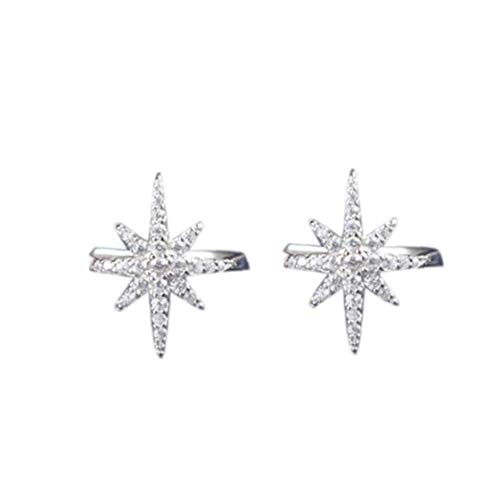 DINEGG 1 par de Estrellas Ear Puño Micro Pave Zircon Sin Hole Clip Pendiente Puño Goldo Rosa QQQNE (Color : Silver)