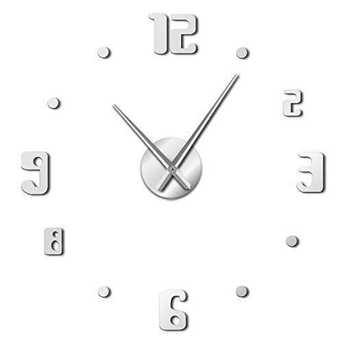 YQMJLF Reloj Pared DIY 3D Grande DIY Grandes Relojes Pared Cuarzo diseño Moderno Reloj Pared Gigante Aguja Reloj Grande Espejo acrílico Pegatina DIY Pegatinas 3D decoración del hogar Plata