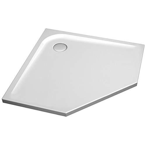 Ideaal Standaard Ultra Platte vijfhoekige douchebak 1000mm, vloerniveau, K1995, Kleur: Wit met IDEAL GRIP - K1995YK