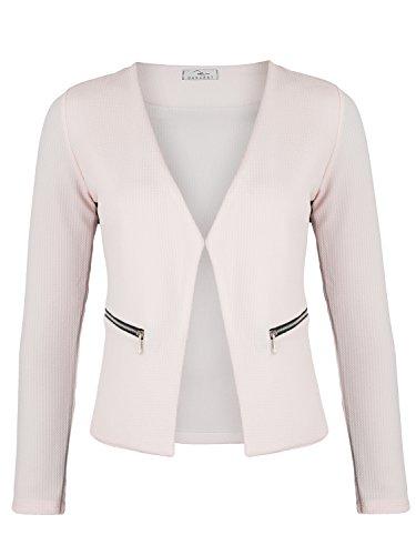 Damen Blazer mit Taschen (382), Farbe:Rosa, Kostüme & Blazer für Damen:42 / XL