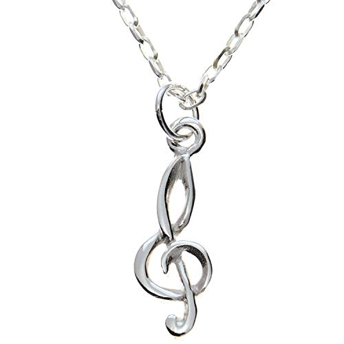 Sterling Silver Treble Clef Pendant necklace with 18' Chain and gift box