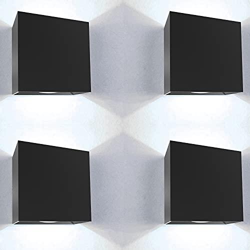 Aplique pared exterior 4 uds 12W impermeable IP65 con juego repuestos incluidos luz blanca fria 6000K aplique exterior lampara exterior pared apliques pared exterior luz exterior pared ⭐