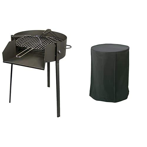 Imex El Zorro 71581 Barbacoa redonda con soporte para paella, diámetro 50 x 75 cm, NEGRO + Algon AA235 Funda para barbacoas redondas, 70 x 84 cm