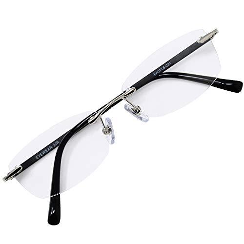 フチなし 軽い 老眼鏡 アイウェアエア おしゃれなフレームレス メンズ レディース ブルーライトカット +0.5〜+2.5 4色 スクエア ブラック&シルバー C21 +1.50