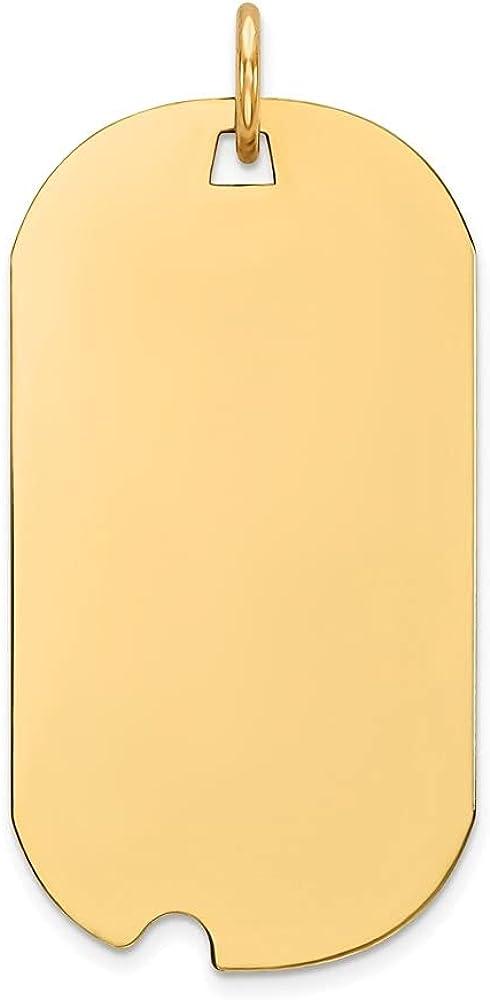 14k Yellow Gold Plain .027 Gauge Engravable Dog Tag Notch Disc Pendant (L- 33 mm, W- 16 mm)